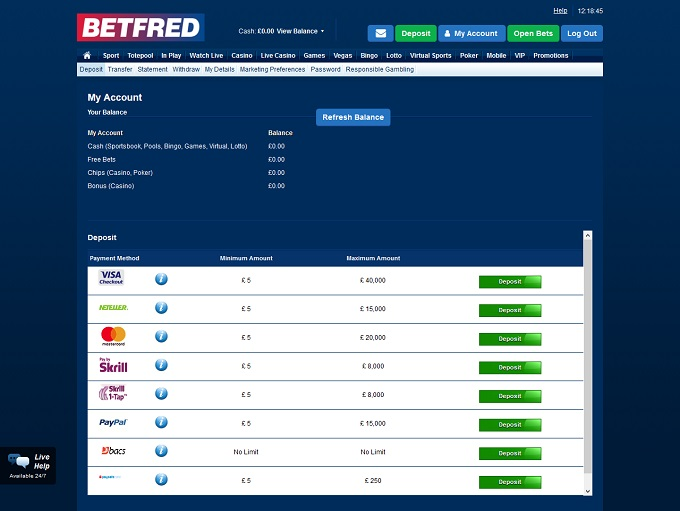 Betfred Casino bank