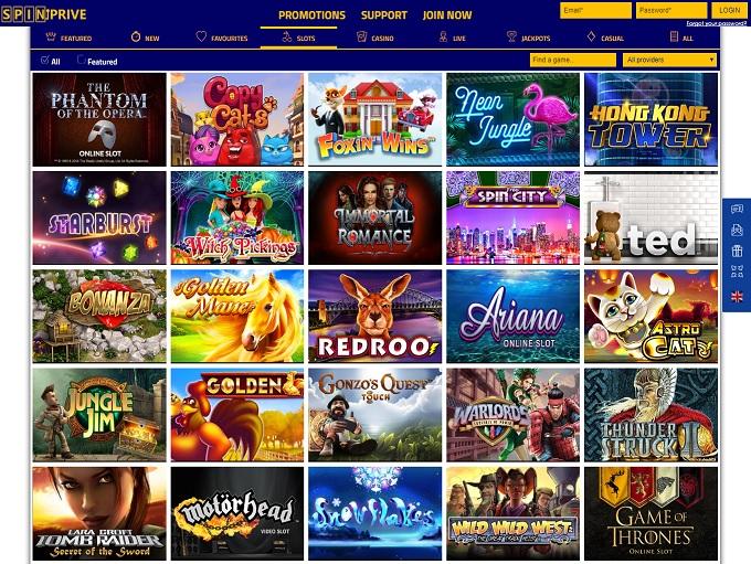 Spin Prive Casino new new lobby