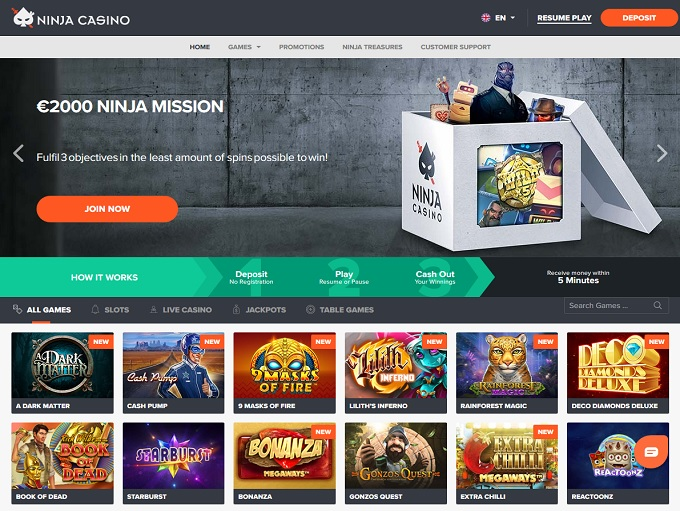 Ninja Casino new home page
